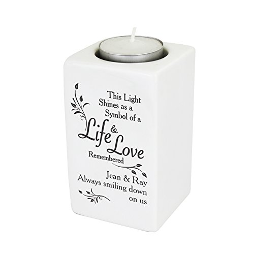 Loving Memory Ceramic Tea Light Candle Holder. This is a great product that can be personalised to your requirements ( please see main discription for full details ) Ideal gifts and presents for weddings, Christenings, Birthdays, Christmas etc...