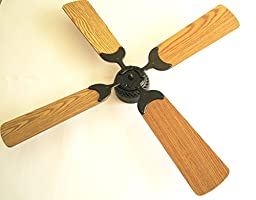 Global Electric 42-inch Non-Brush Ceiling Fan for RV, Oil Rubbed Bronze Finish with Wall Control. Oak /Light Oak Reversible Blades