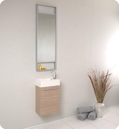 Pulito Small Modern Bathroom Vanity w Tall Mirror (Light Oak)