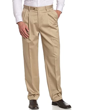 Savane Men's Big No-Iron Pleated Twill Pant, Antelope, 44W 28L