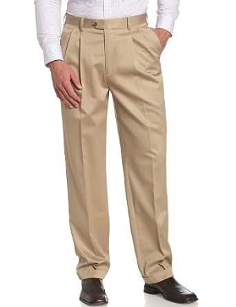 Savane Men's Big No-Iron Pleated Twill Pant, Antelope, 44W 28L