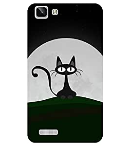 Chiraiyaa Designer Printed Premium Back Cover Case for Vivo Y27 Vivo Y27L (cat black moon eyes) (Multicolor)