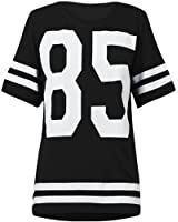 NEW WOMENS LADIES AMERICAN FOOTBALL TOP 85 PRINT VARSITY COLLEGE JERSEY T SHIRT in Black