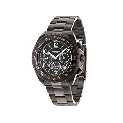 Police Navy V Men's Quartz Watch with Black Dial Chronograph Display and Black Stainless Steel Plated Bracelet...