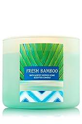 Bath & Body Works 2015 Fresh Bamboo 3 Wick Scented Candle 14.5 Oz with Aqua Glass Jar