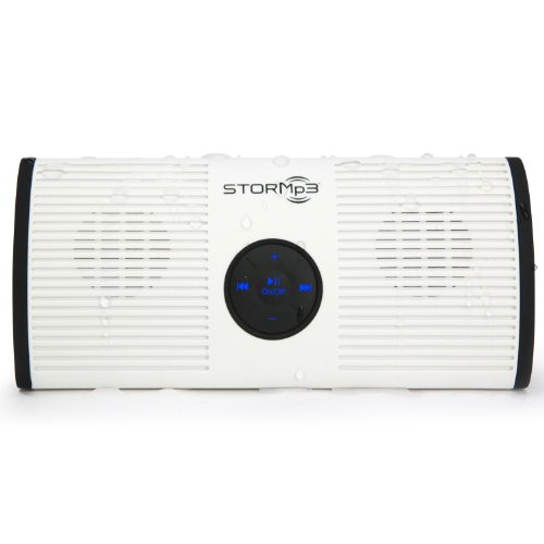 Stormp3 Water Resistant Mp3 Speaker: Internal Memory, Portable Design, Brilliant Sound. (White)