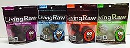 Living Raw Organic 1.64 Oz Truffles Mixed 4 Packs - Darkest Cacao, Hippie Hemp, Kickin\'s Cayenne, and Coconut Karma Truffles