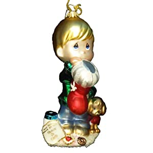 Kurt Adler 6-Inch Precious Moments Polonaise Boy with Christmas Stocking Ornament