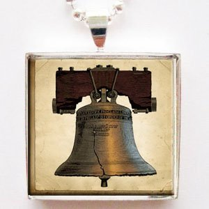 Liberty Bell Glass Tile Pendant Necklace
