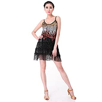 Womens Stage Performance Dress Latin Dance Costumes Tassel Sequins Rumba Dance Ballroom Dress