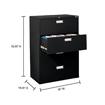 "Sandusky Lee 600 Series Lateral File Steel 4-Drawer Cabinet, 36"" Width x 53-1/4"" Height x 19-1/4"" Depth, Black"