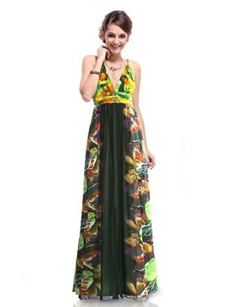 HE09324GR18, Green, 16US, Ever Pretty V-neck Rhinestone Printed Gorgeous Feminine Long Evening Dresses 09324