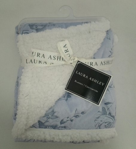 Laura Ashley Carved Printed Minky Baby Blanket, Rose Print Blue Color front-1068233