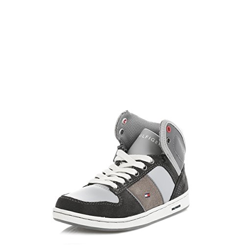 Tommy Hilfiger gioventù grigio Cooper Pelle Sneakers-UK 4