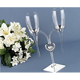 Raindrop Wedding Flutes and Silver-Plated Holder