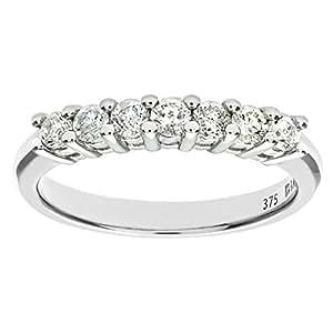 Bague Femme - Or blanc (9 carats) - Diamant 0.5 Cts - T 46.5