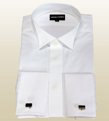 ウィングカラーシャツ 【ダブルカフス】【カフスボタン付き】 ドレスシャツ白 ハイカラー 新郎用シャツ .W-SC-02. フォーマルシャツ
