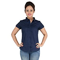 ELLE ET LUI NAVY BLUE HALF SLEEVE SHIRTS (Small)