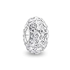 Mothers Day Gift 925 Sterling Shamballa Inspired White Crystal Bead Fits Pandora
