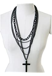 1Pcs Fashion Retro Multi-layer Chains Pendant Black Cross Metal Long Necklace