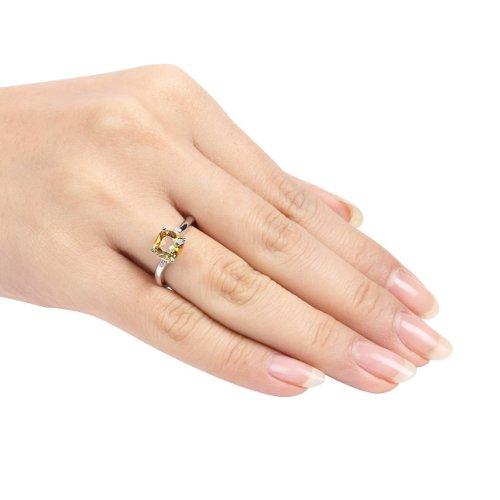 Sterling Silver 1 1/4 CT TGW Citrine 0.015 CT TDW Round Diamond Fashion Ring (I3)