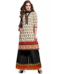 Beige Cotton Resham With Patch Patti Dress Material