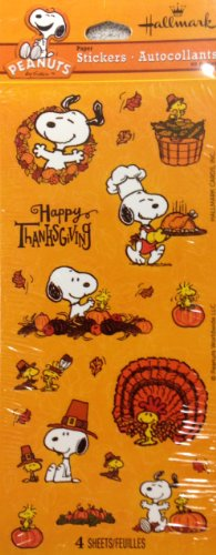 Peanuts Stickers - Snoopy Stickers - Snoopy Thanksgiving Stickers - 4 Sheets front-965795