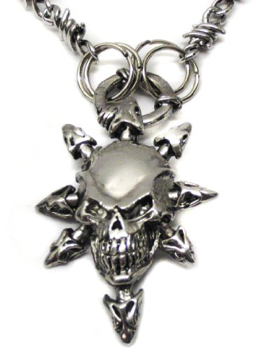 Pewter Gothic Skull Pendant with unique chain
