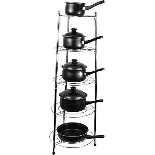 home-discountr-kitchen-rack-stand-5-tier-pan-pots-saucepan-chrome-kitchen-storage