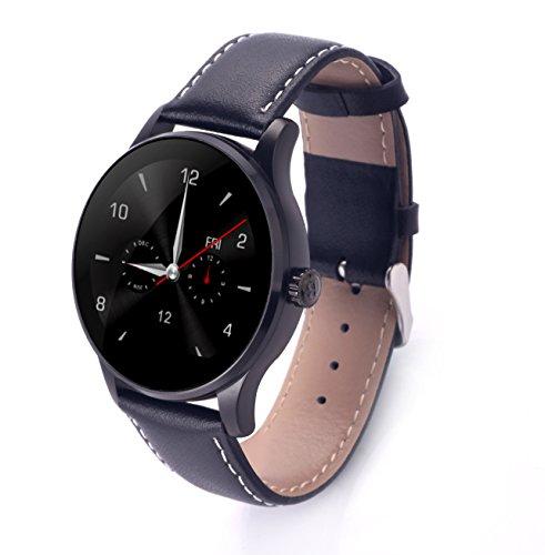 RG Pelle Bluetooth smart Orologio Heart Rate Pedometer Fitness Tracker per Android IOS, Confezione regalo inclusa (K88H) (Nero)