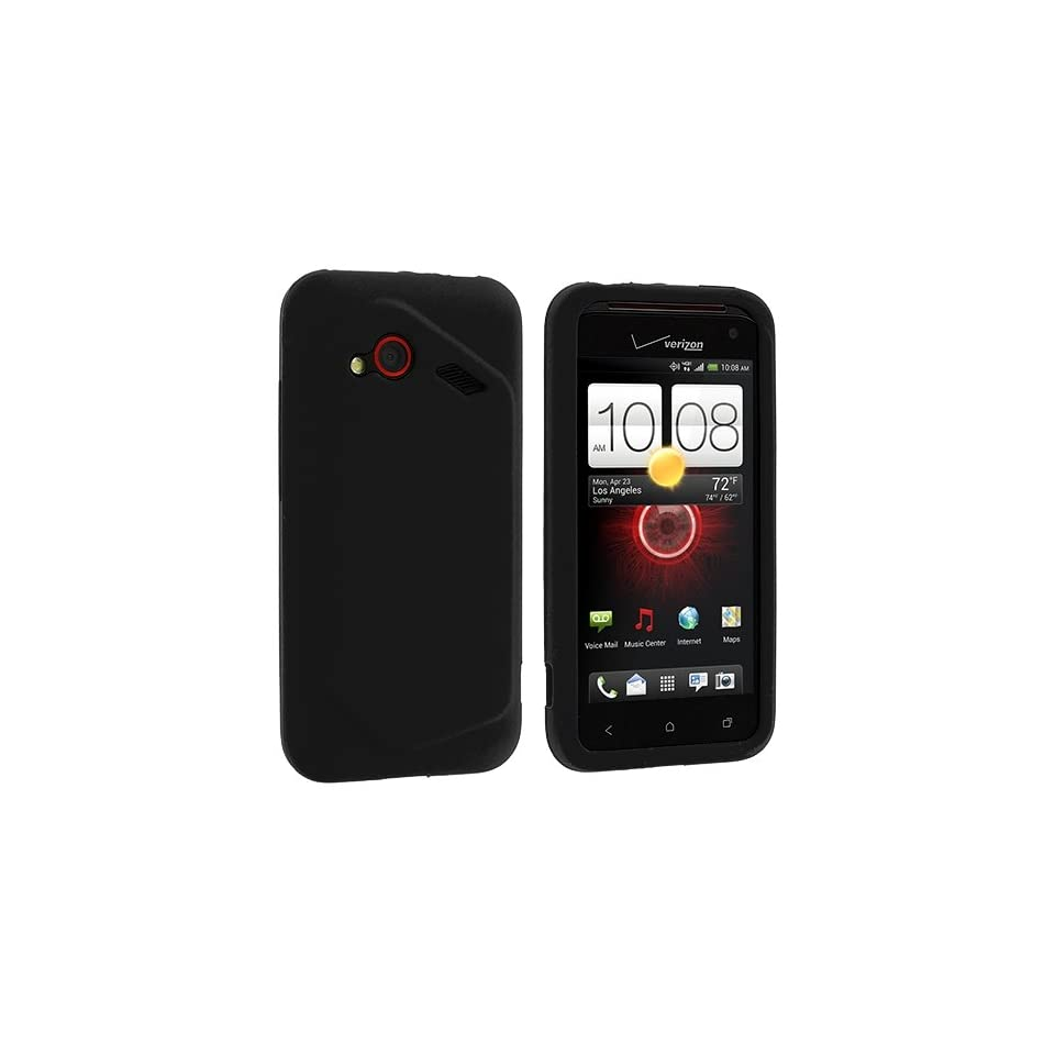 Black Silicone Rubber Gel Soft Skin Case Cover for HTC Droid Incredible 4G LTE
