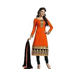 Shree Ashapura Creation Women`s Georgette Embroidered Semi-stitched Salwar Suit Dupatta Material(Orange Chanderi)