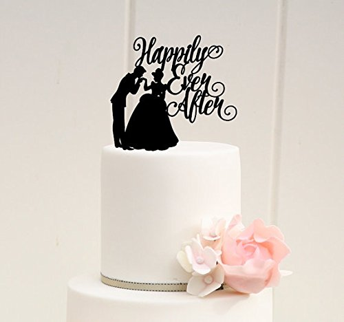 Happily Ever After Bride and Groom Acrylic Wedding cake Topper (Glittery Gold)