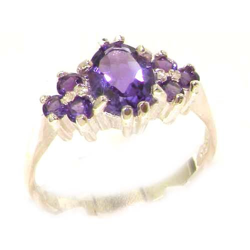 Ladies Contemporary Solid White Gold Natural Amethyst Ring - Size 9.75 - Finger Sizes 5 to 12 Available