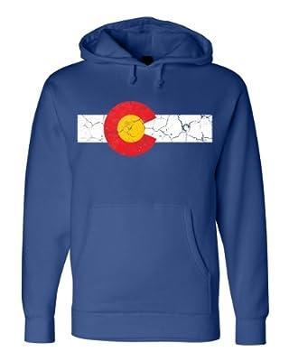 COLORADO STATE FLAG Unisex Fleece Sweatshirt. Distressed Hoodie, Rocky CO