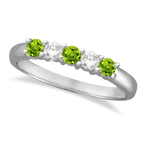 7d8597a7a9e2a Allurez - Femmes - Anniversary-rings - Or blanc 585 1000 (14 carats) 3.4 gr  - Rond Peridot 0.47ct