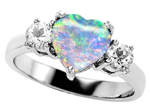 Original Star K Created Opal Heart Shape Engagement Ring