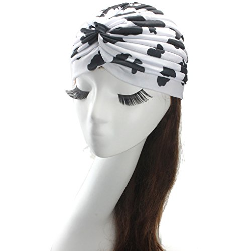 [Womens Turban Indian Style Head Wrap Cap Hat Hair Cover Headband,White(Cow)] (Cow Head Hat Adult)
