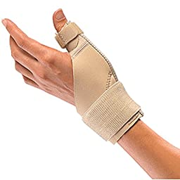 Mueller Sports Medicine Reversible Thumb Stabilizer, Black, Measure Around Wrist- Fits 5.5 - 10.5 Inches,Pack of 2,Beige