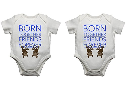 """Born Together Friends Forever"" Babybody for Zwillinge Blue /  Blue 0 - 3 Monate"