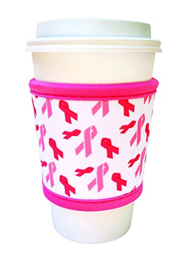 Sale!! Joe Jacket Neoprene Drink Insulator Sleeve Cup Grip, Pink Awareness Ribbon