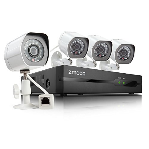 Zmodo Zp-Ke1H04-S-1Tb Hdd Spoe Security System With 4 Hd 720P Indoor Outdoor Night Vision Ip Cameras (White)