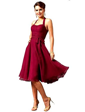 Beaumonde Women's Stunning Short Cocktail Chiffon Little Black Halter Dress 6 Red