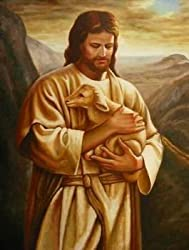 12X16 inch Plackhorst Figure Canvas Art Repro Good Shepherd