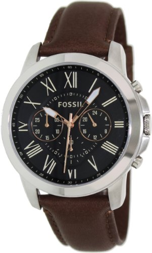 FOSSIL Grant Chronograph Leather Watch - Brown