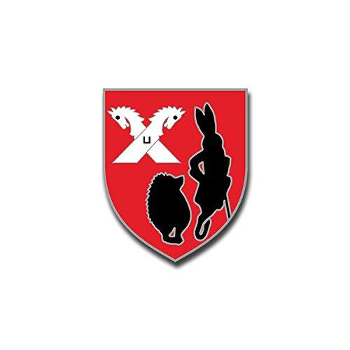Aufkleber / Sticker - Stab St.Kp. 3.Pz.Div Igel Hase Pferde Panzerdivision Hamburg Heer Deutschland Wappen Emblem passend für VW Golf Polo GTI BMW 3er Mercedes Audi Opel Ford (6x7cm)#A1437