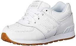 New Balance KL574I Leather Pack Running Shoe (Infant/Toddler), White, 2 W US Infant