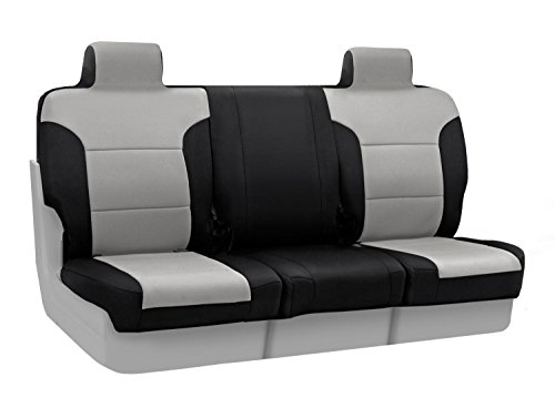 Coverking Custom Fit Front 50/50 Bucket Seat Cover For Select Ford F-Series Models - Neosupreme 2-Tone (Gray With Black Sides) front-1018616