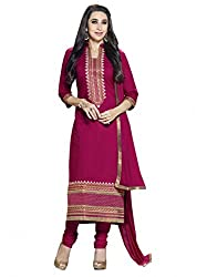 SR Women's Cotton Unstitched Dress Material (Meganta Top Bottom Duptta)