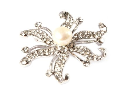 9-10mm white freshwater pearl beads white gold plated brooch 48mm